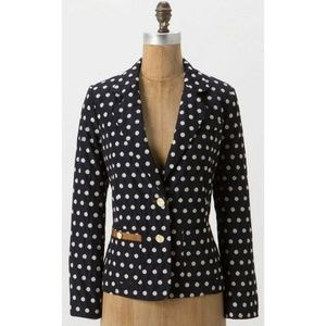 Anthropologie Navy Blue Polka Dot Blazer